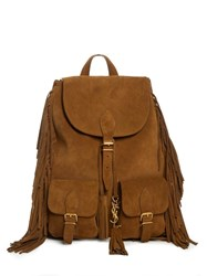 Saint Laurent Fringed Suede Backpack Tan