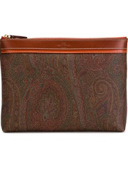 Etro Paisley Print Clutch Brown