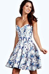 Boohoo Bandeau Skater Dress Blue