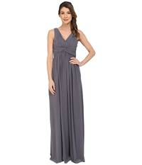 Donna Morgan Julie Long Bra Friendly Chiffon Dress Charcoal Women's Dress Gray