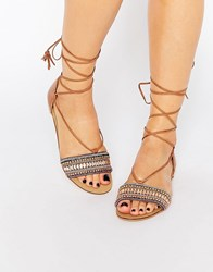 New Look Embellished Lace Up Sandal Stone