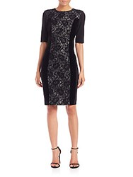 Teri Jon Lace Panel Sheath Dress Black