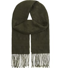 The Kooples Embroidered Wool And Cotton Scarf Kaki
