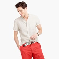 J.Crew Short Sleeve Band Collar Shirt In Irish Linen