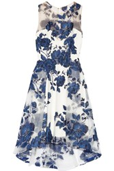 Marchesa Notte Embroidered Tulle Dress Blue