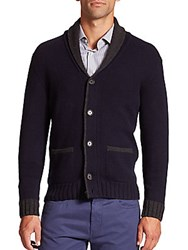 Saks Fifth Avenue Shawl Collar Wool And Cashmere Cardigan Blue