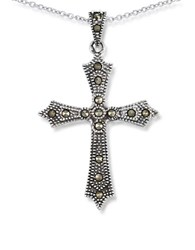 Lord And Taylor Marcasite Cross Pendant Necklace Silver