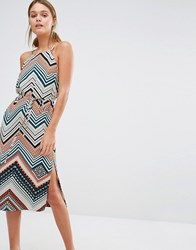 Oasis Chevron Stripe Midi Dress Multi