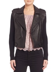 Rebecca Minkoff Cicely Knit Sleeve Lambskin Leather Moto Jacket Black