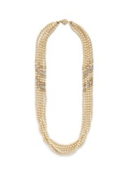 Miriam Haskell Swarovski Crystal Baroque Pearl Multi Strand Necklace White