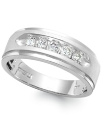 Macy's Men's Five Stone Diamond Ring In 10K White Gold 1 2 Ct. T.W.