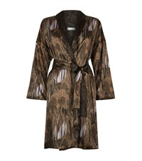 Hanro Adele Silk Robe Female Brown