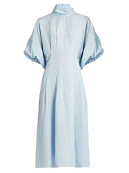 Rachel Comey Silk And Linen Blend Short Sleeved Dress Light Blue