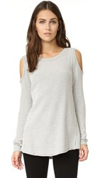 Sol Angeles Two Tone Thermal Cold Shoulder Tee
