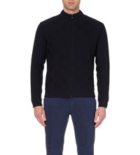 Corneliani Chunky Knit Wool Cardigan Blue