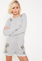 Missguided Grey Embroidered Sweat Long Sleeve Playsuit