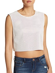 Bailey 44 Kwaito Perforated Faux Leather Crop Top Alabaster
