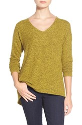 Women's Gibson 'Yummy Fleece' High Low V Neck Pullover Olive Oil