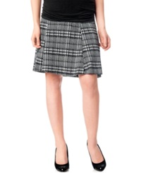 Motherhood Maternity Secret Fit Belly Plaid Fit And Flare Skirt Black White Plaid