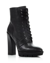 Kenneth Cole Oaks Lace Up High Heel Booties Black