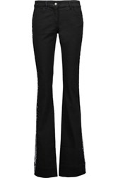 Just Cavalli Sequin Trimmed Mid Rise Bootcut Jeans Black
