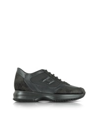 Hogan Black Fabric And Suede Wedge Sneaker