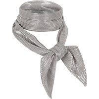 River Island Womens Silver Pleated Necktie Scarf