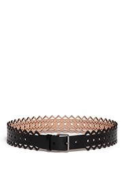 Azzedine Alaia 'Vienne' Lasercut Leather Belt Black
