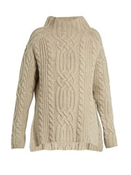 Raey Side Split Cable Knit Wool Sweater Light Grey