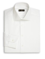 Corneliani Cotton And Linen Dress Shirt White