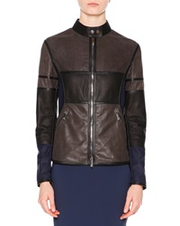 Callens Patchwork Leather Biker Jacket Navy