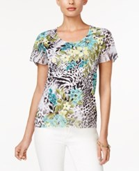 Jm Collection Short Sleeve Printed Top Only At Macy's Flower Tropical