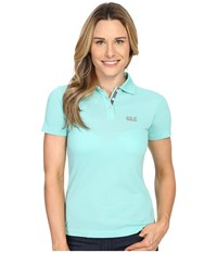 Jack Wolfskin Pique Function 65 Polo Pool Blue Women's Clothing