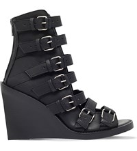 Ann Demeulemeester Multi Strap Leather Wedge Sandals Black