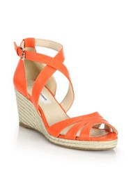 Lk Bennett Priya Leather Espadrille Wedge Sandals Orange Blue Brown