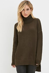 Forever 21 Longline Turtleneck Sweater Olive