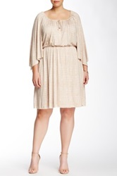 White Label By Rachel Pally Printed Kaftan Sleeve Keyhole Dress Plus Size Beige