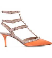 Valentino Rockstud 65 Patent Leather Heeled Courts Peach