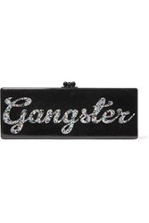 Edie Parker Flavia Gangster Glittered Acrylic Box Clutch Black