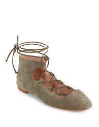 French Connection Kamilla Suede Lace Up Flats Olive Green