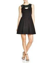 Dylan Gray Faux Leather Yoke Fit And Flare Dress Black