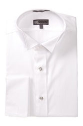 Ike Behar 80S Cotton Pique Wing Tux Dress Shirt White