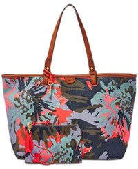 Fossil Rachel Fabric Tote With Pouch Blue Floral