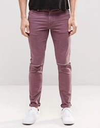 Asos Skinny Jeans With Knee Rips In Purple Purple