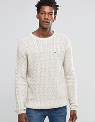 Tommy Hilfiger Denim Jumper With Cable Knit In Cream Cream