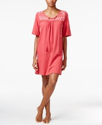 Lucky Brand Embroidered Nightgown Crimson