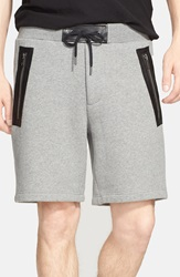 Marc By Marc Jacobs 'Luke' Leather Trim Sweat Shorts Grey Melange