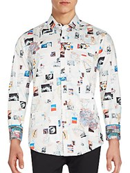 Robert Graham Graphic Long Sleeve Button Down Shirt White