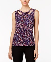 Nine West Cutout Printed Top Fire Red Grape