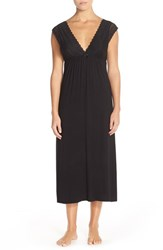 Women's Oscar De La Renta Sleepwear Lace And Knit Long Nightgown Black